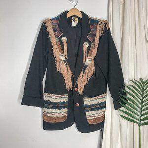 Vintage Western Embroidered Black Fringe Jacket